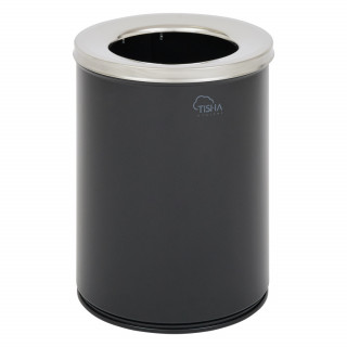 Office Waste Bin 11L With Cover Metal Black