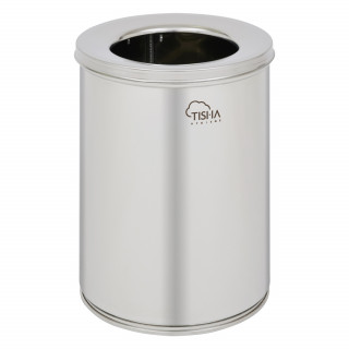 Office Waste Bin 11L With Cover Stainless Steel Mirror Finish