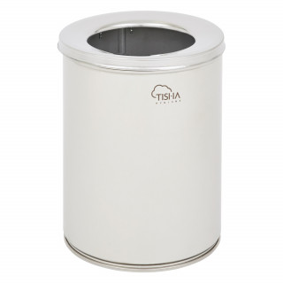 Office Waste Bin 11L With Cover Stainless Steel Brushed Finish